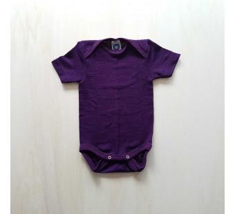 Cosilana short sleeved baby romper 70% wool 30% silk  Purple (71052)