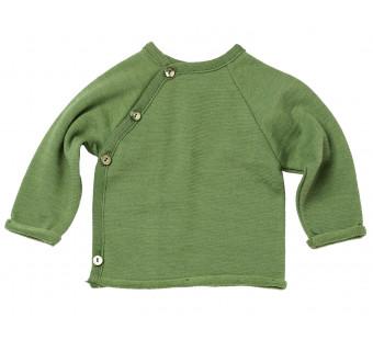 Reiff wol zijde wikkeltrui van badstofstructuur (terry) groen