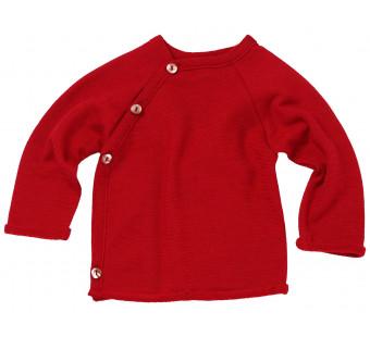 Reiff wol zijde wikkeltrui van badstofstructuur (terry) rood