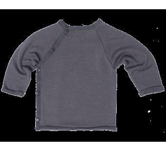 Reiff wol zijde wikkeltrui van badstofstructuur (terry) grijs
