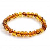 Amber elastische armband voor volwassenen cognac kleurig