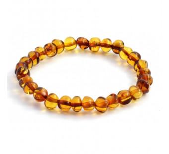 Barnsteen elastische armband voor volwassenen cognac kleurig