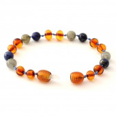Amber bracelet for babies and children with labradorite and lapis lazulli