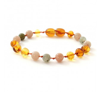 Amber bracelet for babies and children with sunstone and labradorite