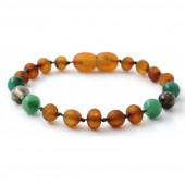 Raw amber bracelet Jade and Quartz