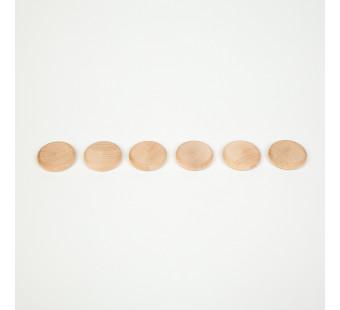 Grapat set van 6 naturelkleurige munten (16-155)