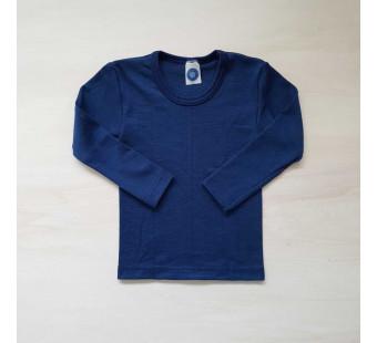 Cosilana lange mouw shirt 70% wol 30% zijde effen blauw (71233)