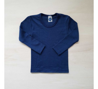 Cosilana long sleeve shirt 70% wool 30% silk blue  (71233)
