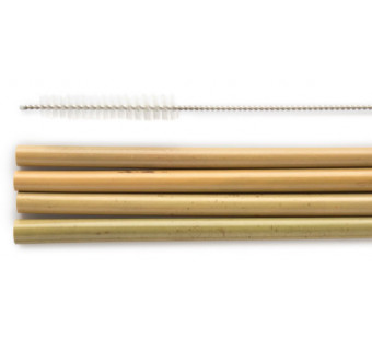 Humble Brush set of 4 bamboo straws and a cleaner