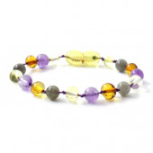 Cherry amber bracelet with rose quartz and amethyst