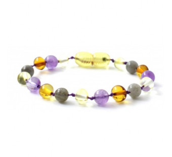 Amber bracelet with labradorite and amethyst