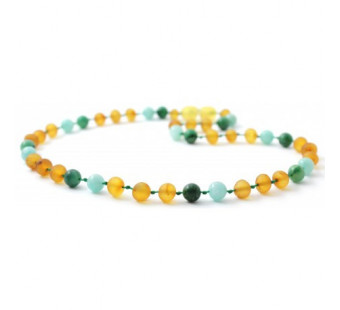 Raw amber necklace 32cm with amazonite and African jade