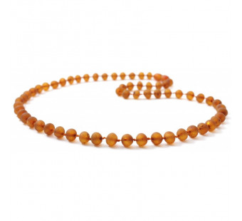 Unpolished amber necklace cognac for adults with a length of 45cm