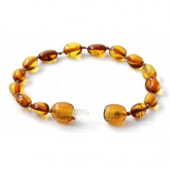 Amber bracelet for babies and children cherry colour