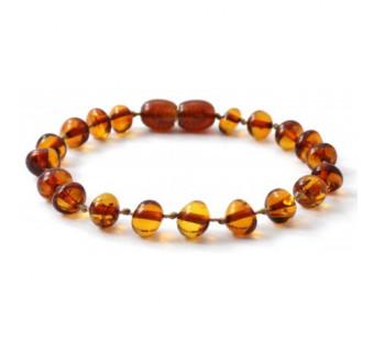 Amber bracelet for babies and children cognac