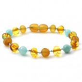Amber bracelet honey coloured with amazonite