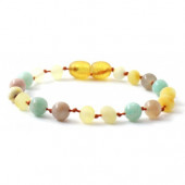 Amber bracelet milk coloured with amazonite and moonstone