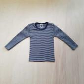 Cosilana long sleeve shirt 70% wool 30% silk navy striped  (71233)