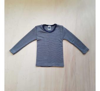 Cosilana lange mouw shirt 70% wol 30% zijde navy gestreept  (71233)