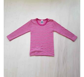 Cosilana lange mouw shirt 70% wol 30% zijde roze gestreept  (71233)