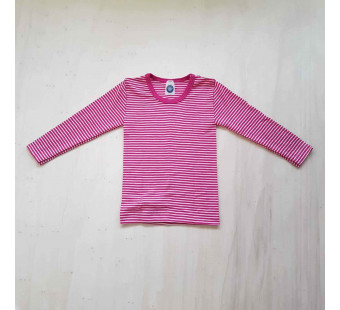 Cosilana long sleeve shirt 70% wool 30% silk pink striped (71233)