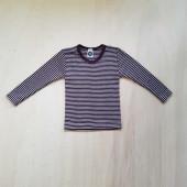 Cosilana long sleeve shirt 70% wool 30% silk dark purple striped  (71233)