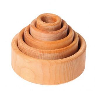 Grimms set van ronde bakjes naturel  (10340)