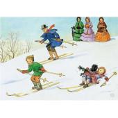 Postkaart met de ski van de berg  (Elsa Beskow)