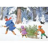 Postkaart kerstboom op de slee   (Elsa Beskow)