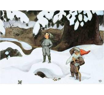Postkaart Dwerg in de sneeuw (Elsa Beskow)
