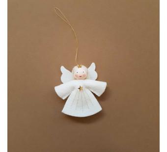 Vilten poppetje Engeltje klein wit haar
