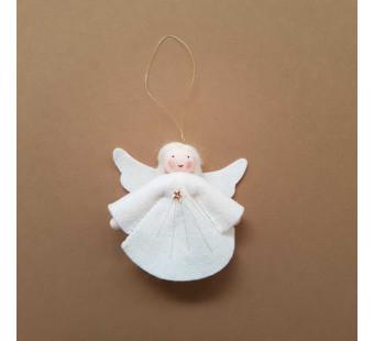 Vilten poppetje Engeltje groot wit haar