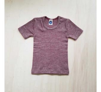 Cosilana short sleeve shirt cotton/wool/silk burgundy (91232)