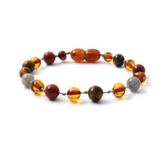 Amber bracelet with Red Jasper, Labradorite and Tiger Eye