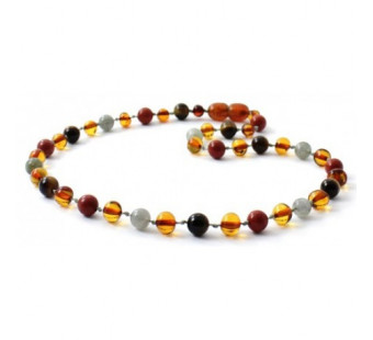 amber necklace cognac with Red Jasper, Labradorite and Tiger Eye
