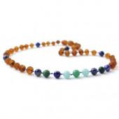 Ruwe barnsteen ketting met Amazontte, Afrikaanse Jade en Lapis Lazuli