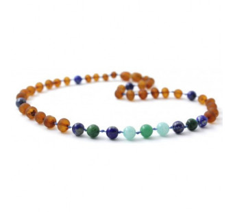 Unpolished Cognac Amber Teething Necklace Amazonite, African Jade and Lapis Lazuli