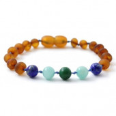 Unpolished Cognac Amber bracelet with Amazonite, African Jade and Lapis Lazuli