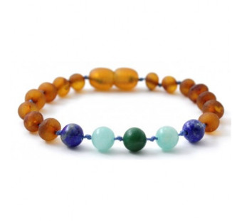 Unpolished Cognac Amber bracelet with Amazonite, African Jade and Lapis Lazuli