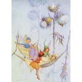 Postal card Joan in flowerland (Magareth Tarrant)