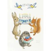 Postal card Rabbit and Squirrell holding birthday card (Molly Brett)