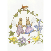 postal card Two rabbits with letters