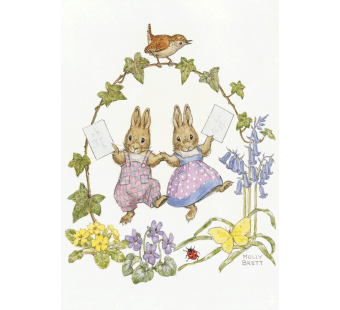 postkaart Two rabbits with letters