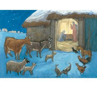 Postal card  Animal nativity scene (Molly Brett)