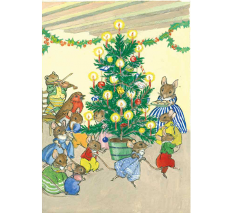 Postcard A family of mice playing around the christmas tree  (Molly Brett)