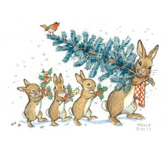 Postal card A Rabbit Carrying a Christmas Tree (Molly Brett)