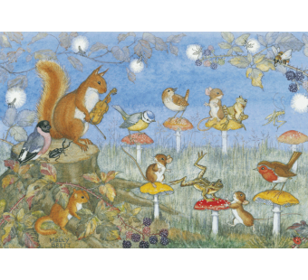 Postcard Musical chairs with mice birds frogs and toadstool chairs   (Molly Brett)
