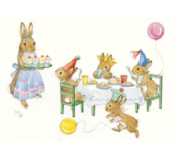 Postkaart Rabbit Birthday party (Molly Brett) 128