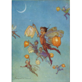 Postal card Joan in flowerland with lights (Magareth Tarrant)