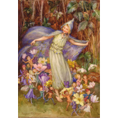 Postal card Joan in flowerland with baby (Magareth Tarrant)